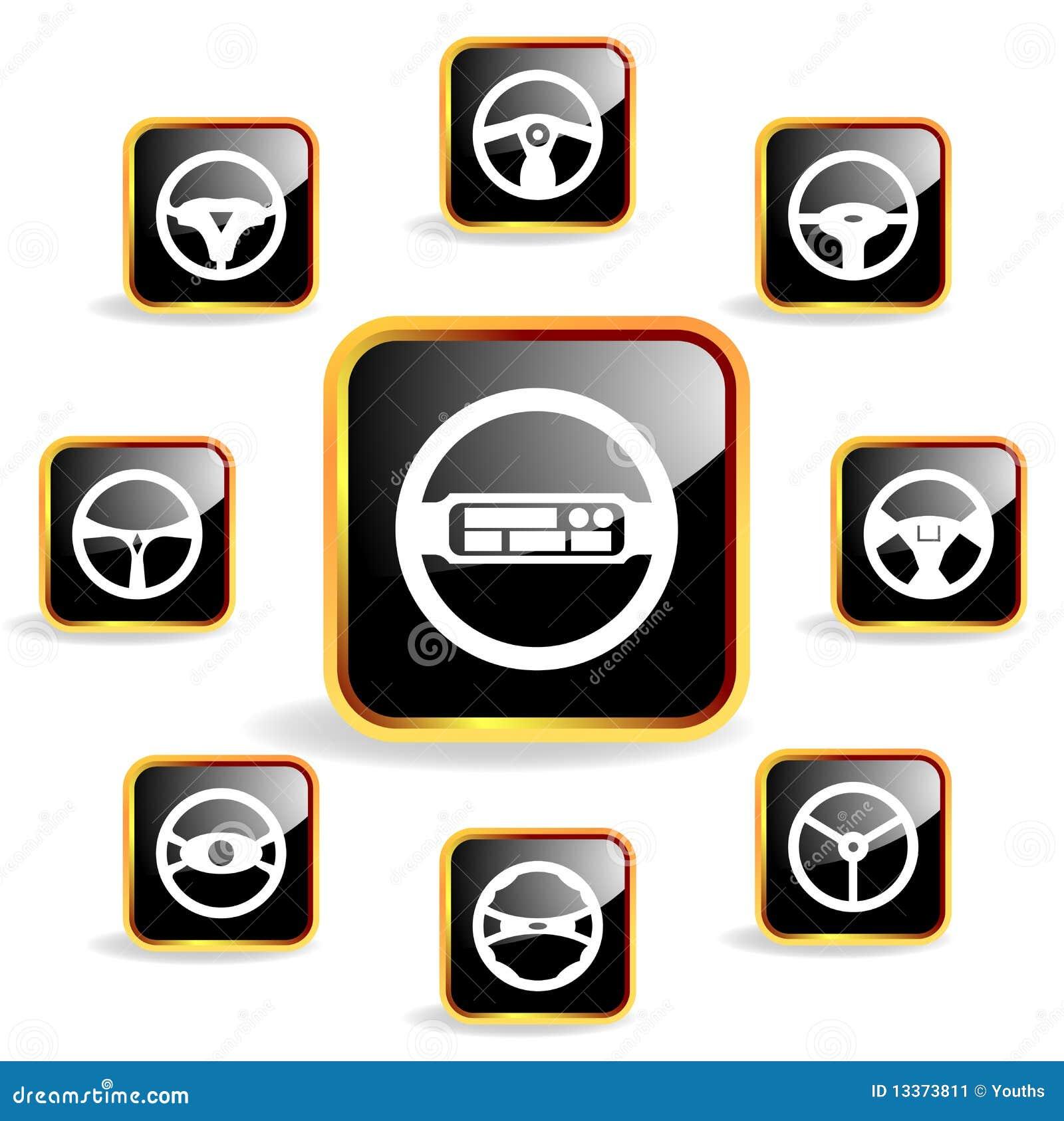 Vector car steering wheel crystal icon