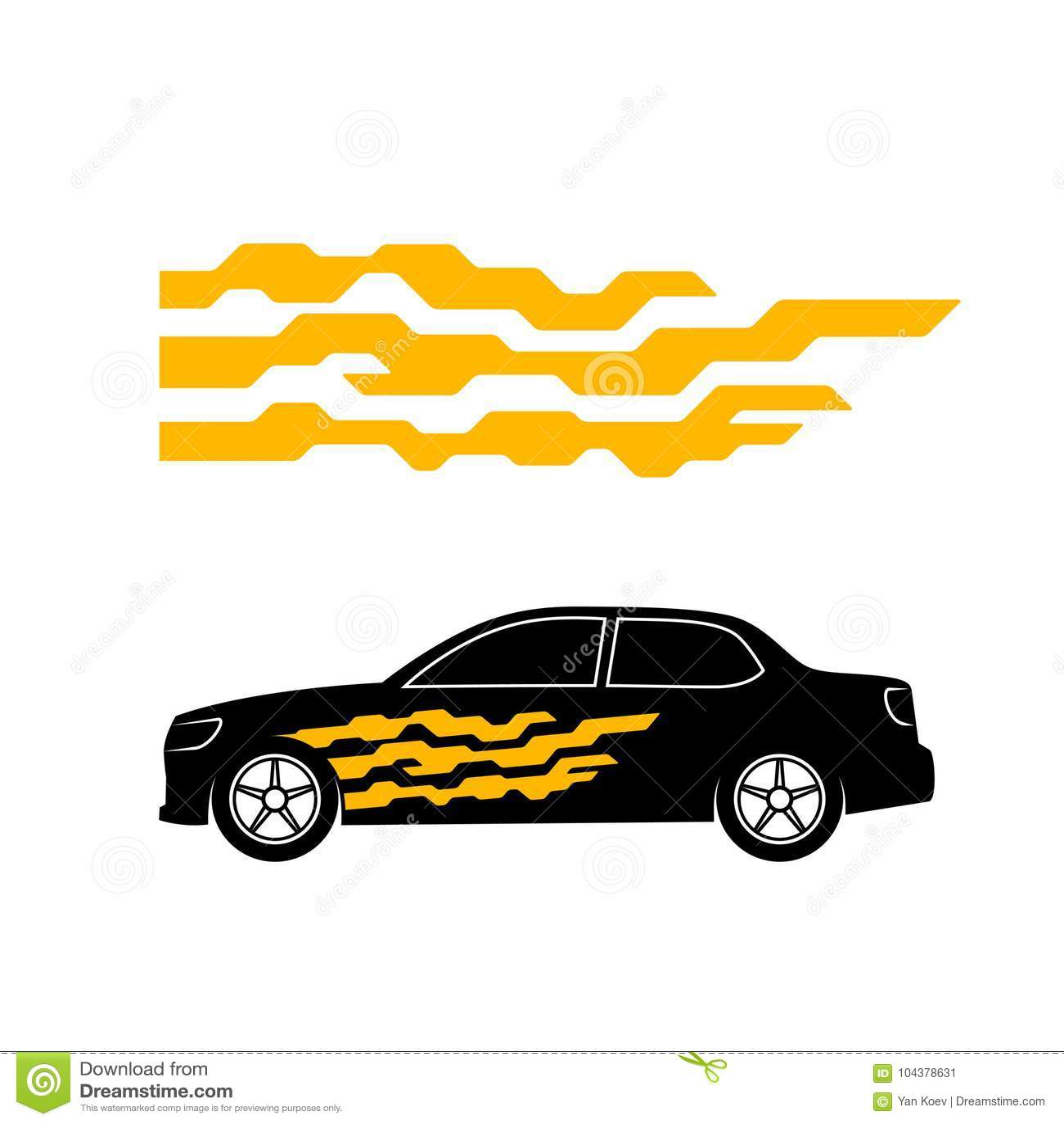 Car sticker side door decal. Tech geometric application.