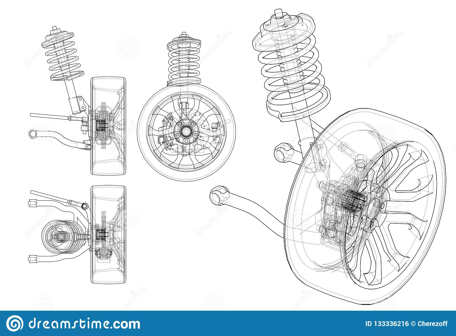 Car Suspension With Wheel Tire And Shock Absorber Stock