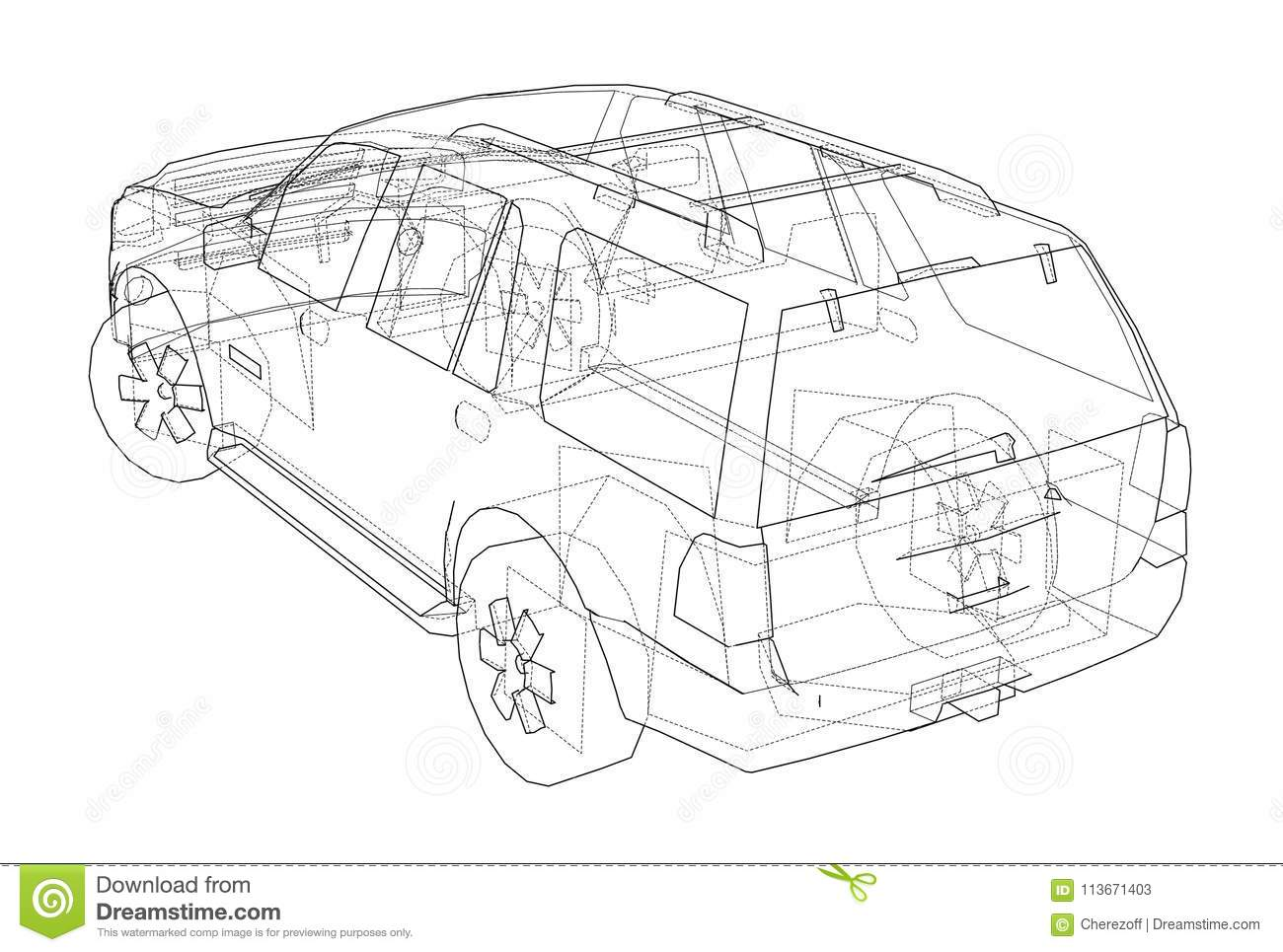 Download Car SUV Drawing Outline Stock Illustration. Illustration Of Drawing    113671403