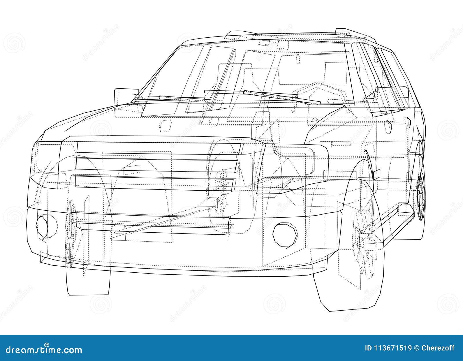 Car SUV drawing outline stock illustration. Illustration of ...