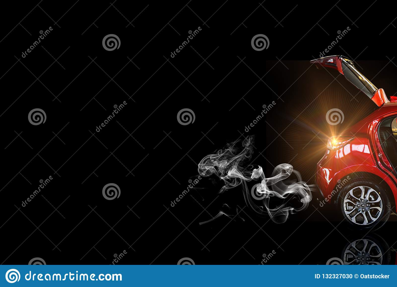 Car Tail Light Red Color On Black Background Stock Photo Image Of