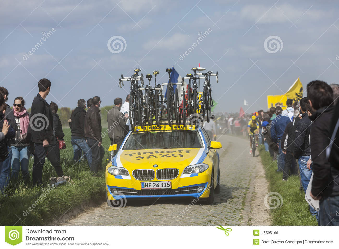 the car of tinkoff saxo team editorial photo image 45595166. Black Bedroom Furniture Sets. Home Design Ideas