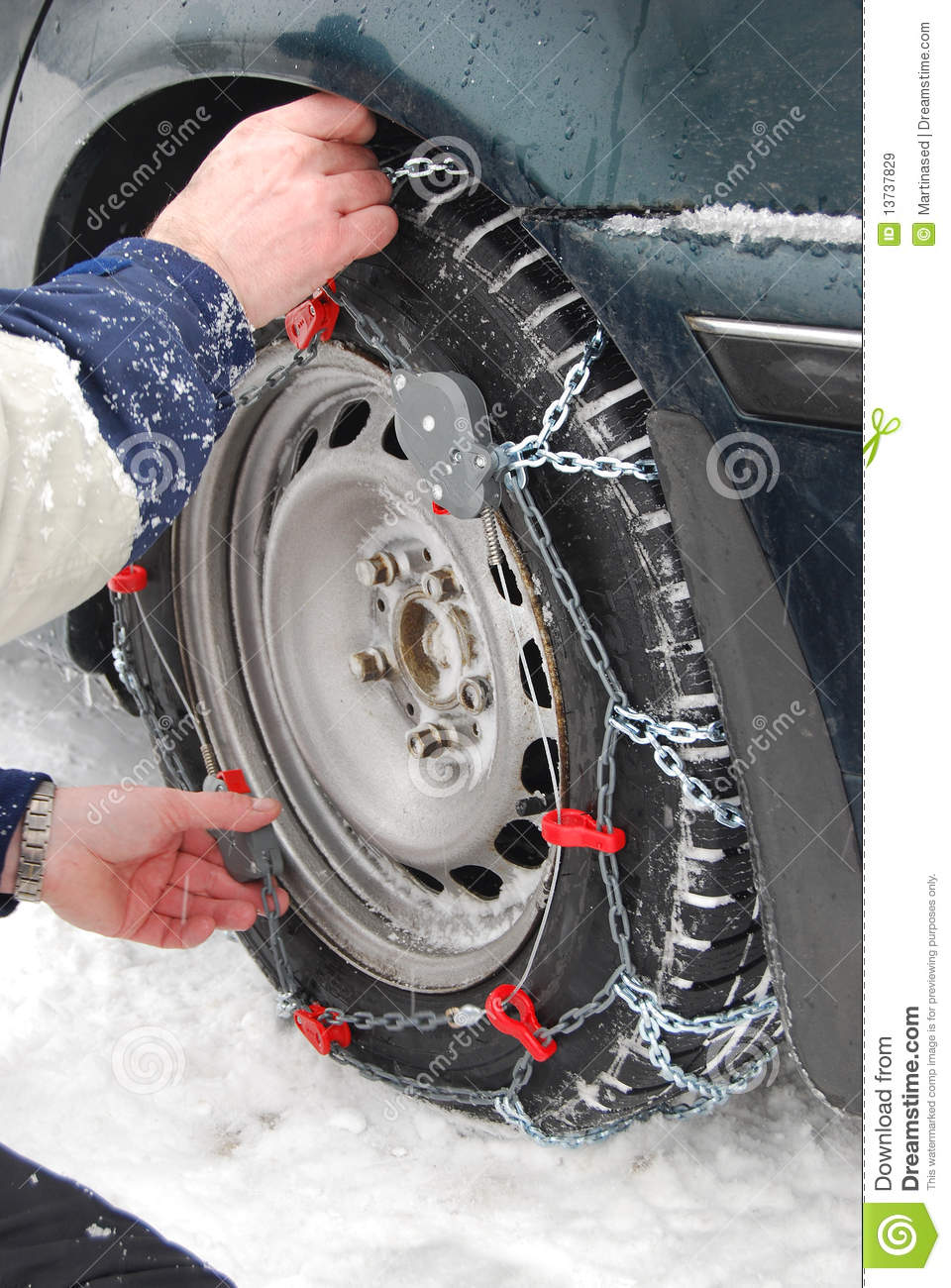 Car Tire Chains Royalty Free Stock Images Image 13737829