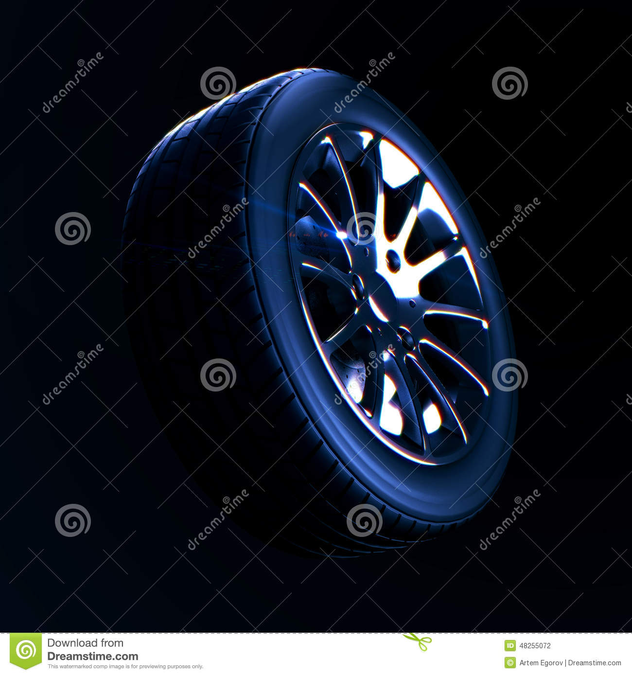 Car Tire With Depth Of Field Blur On Black Background Stock Illustration - Image: 48255072