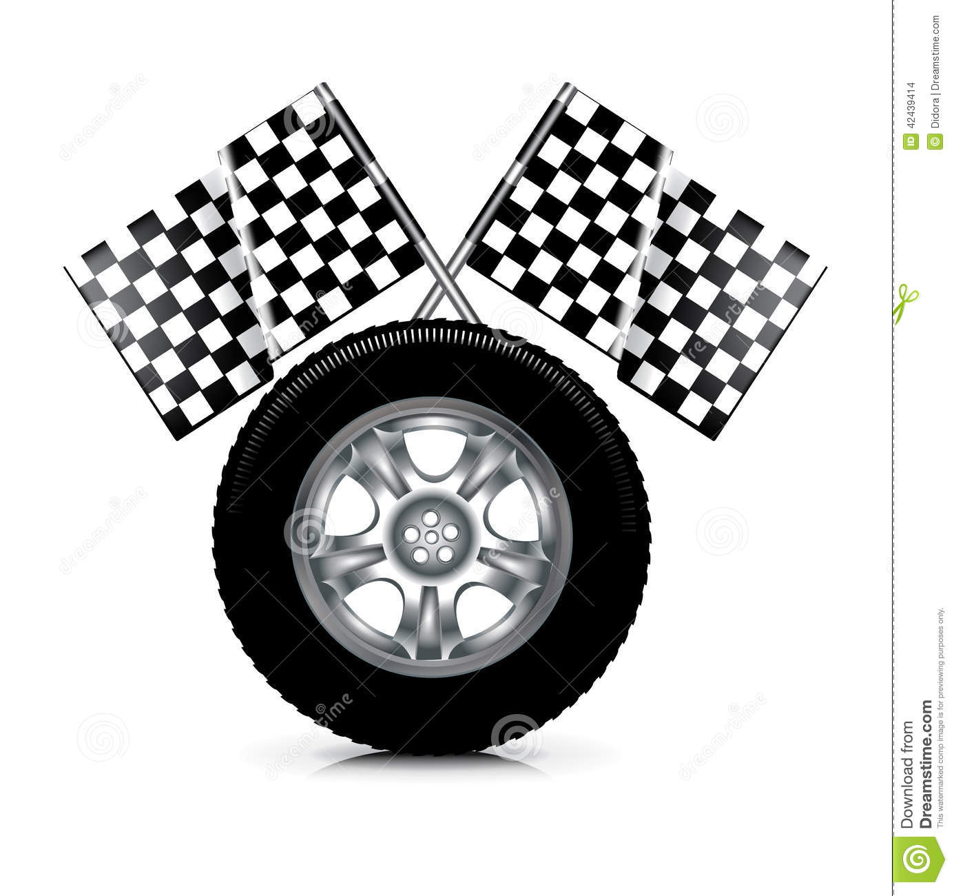 Download Car Tire And Racing Flags Isolated On White Stock Vector