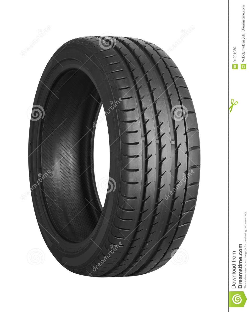 Car tire on white
