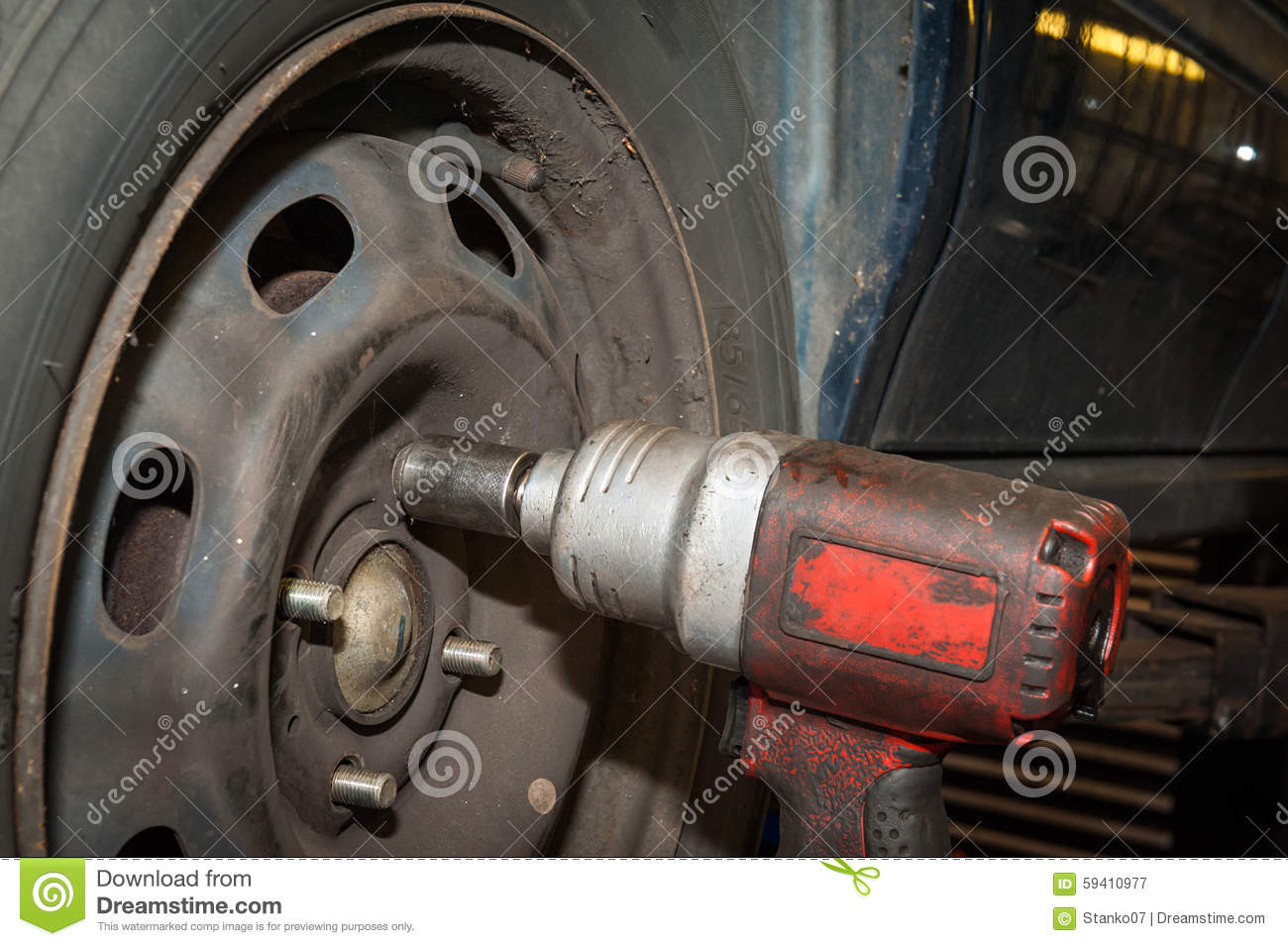 Car Tires Changing Stock Image Image Of Auto Device 59410977