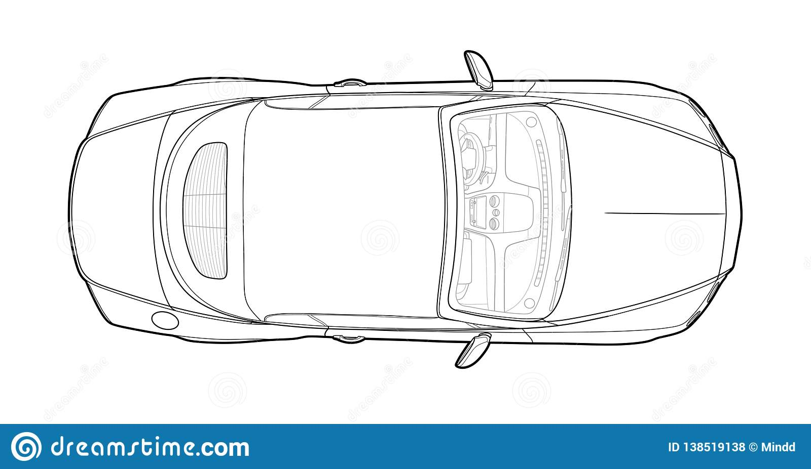 Car From Top View Vector Flat Design Auto Stock Vector
