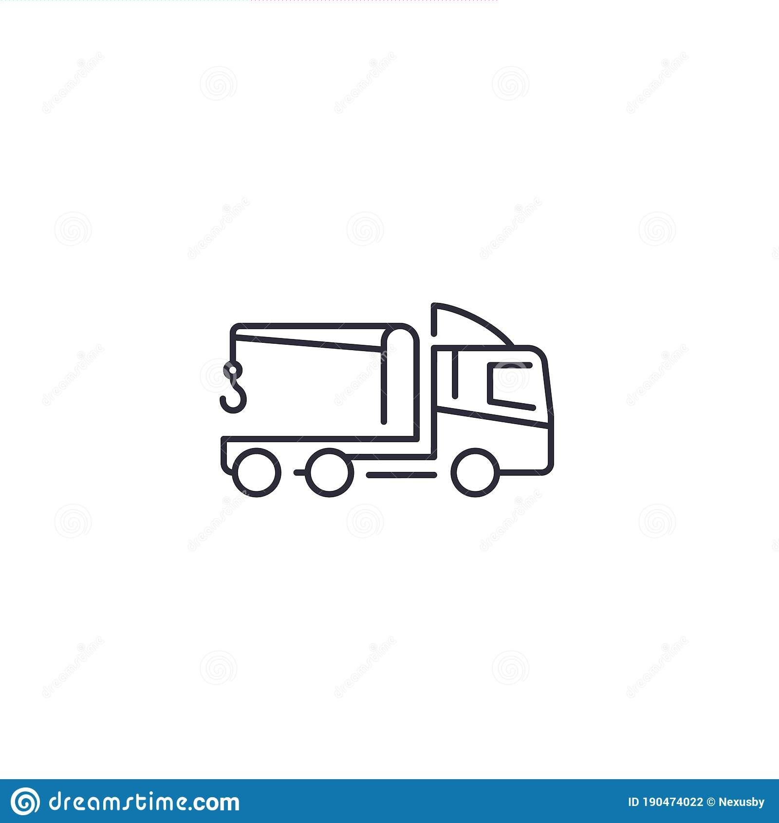 Car Towing Truck Vector Line Icon Stock Illustration Illustration Of Symbol Automobile 190474022