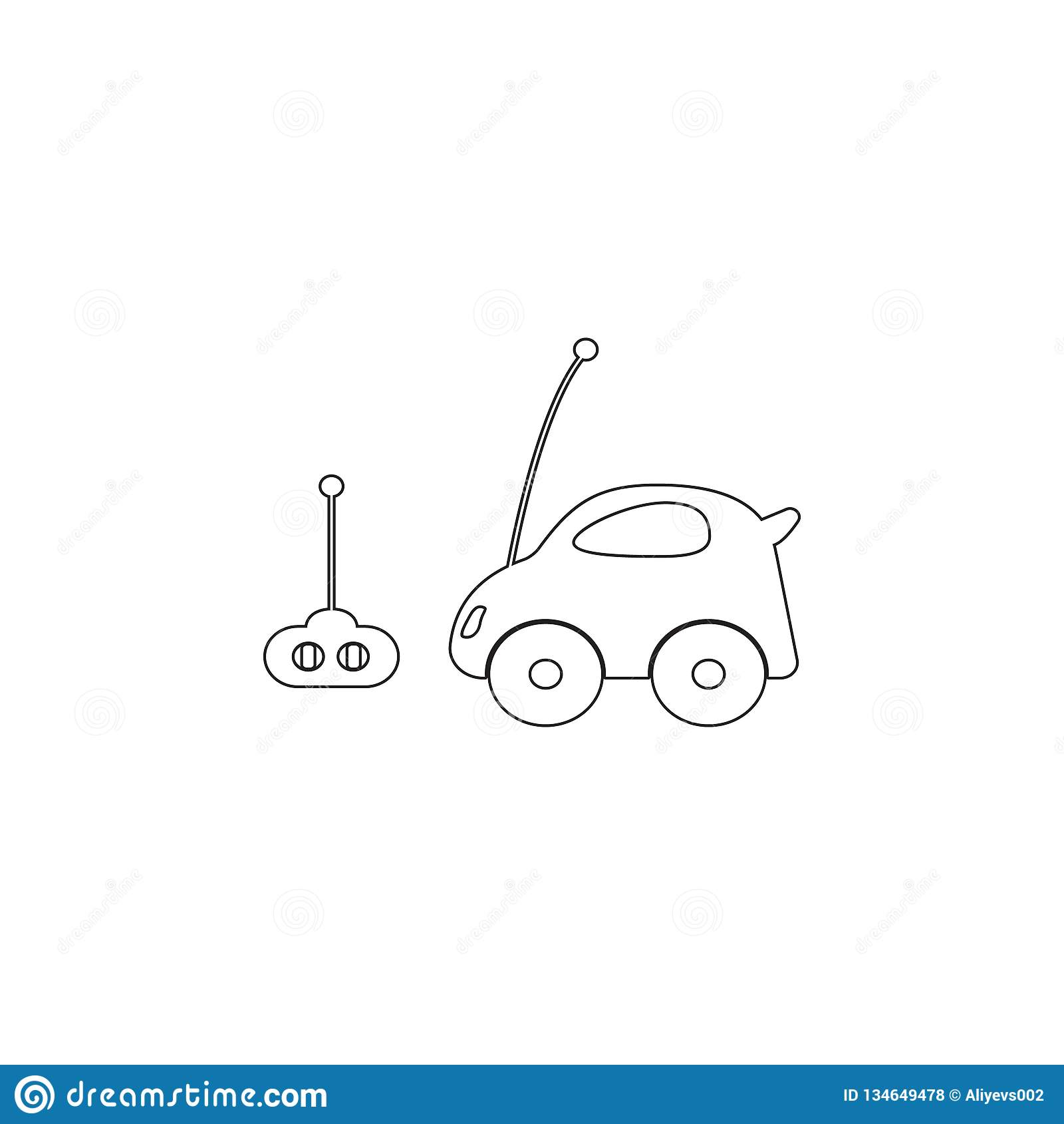 Car Toy With Remote Control Icon Toy Element Icon Premium Quality Graphic Design Icon Baby Signs Outline Symbols Collection Stock Illustration Illustration Of Child Antenna 134649478
