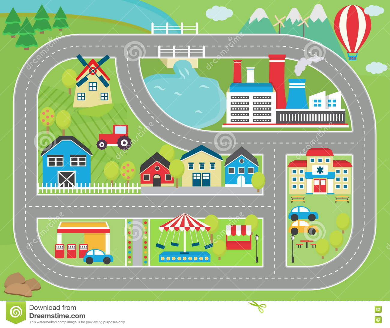 Car Track Play Placemat Stock Vector Illustration Of