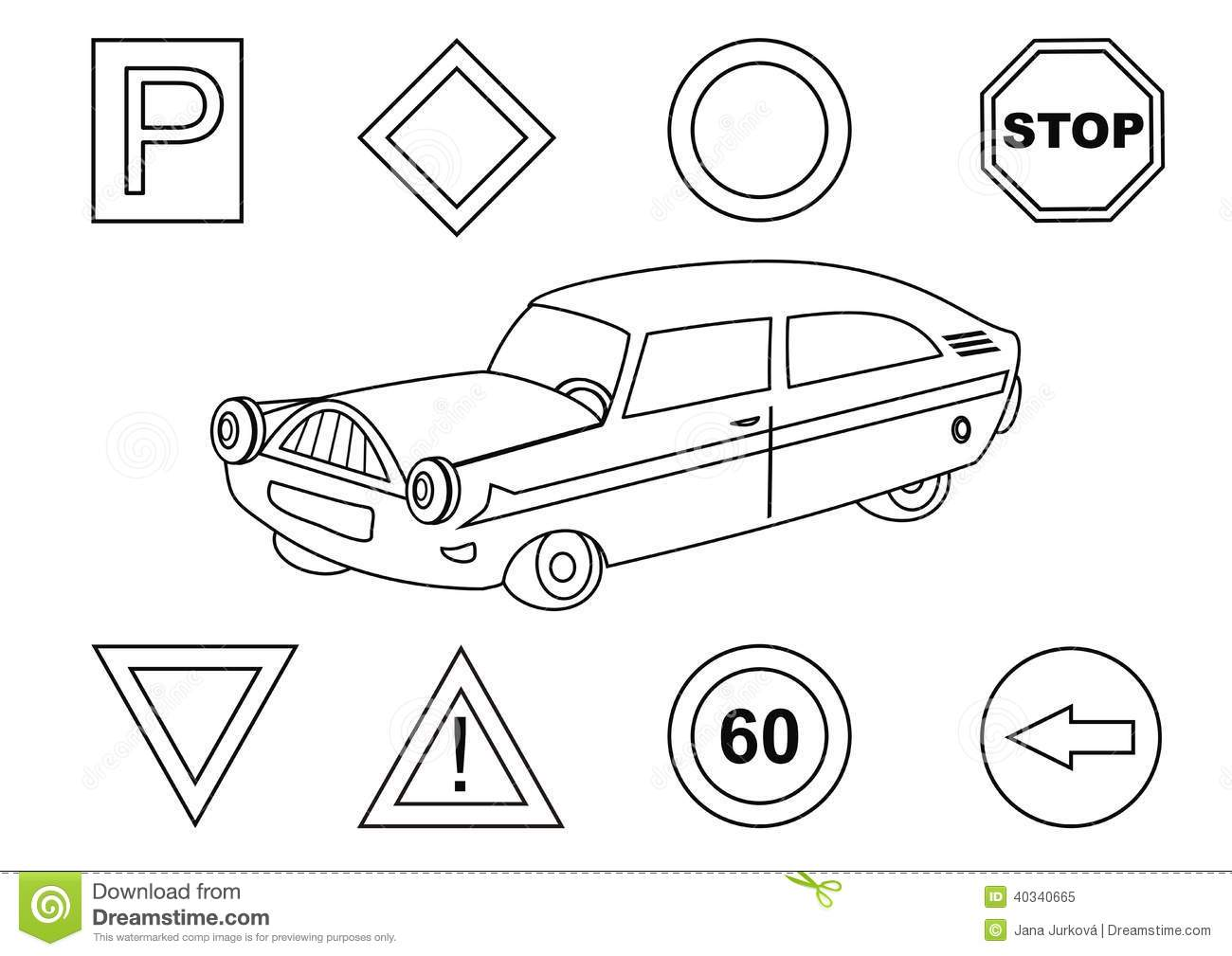 Adult Top Traffic Sign Coloring Pages Images beauty car and traffic signs coloring book stock vector image 40340665 images