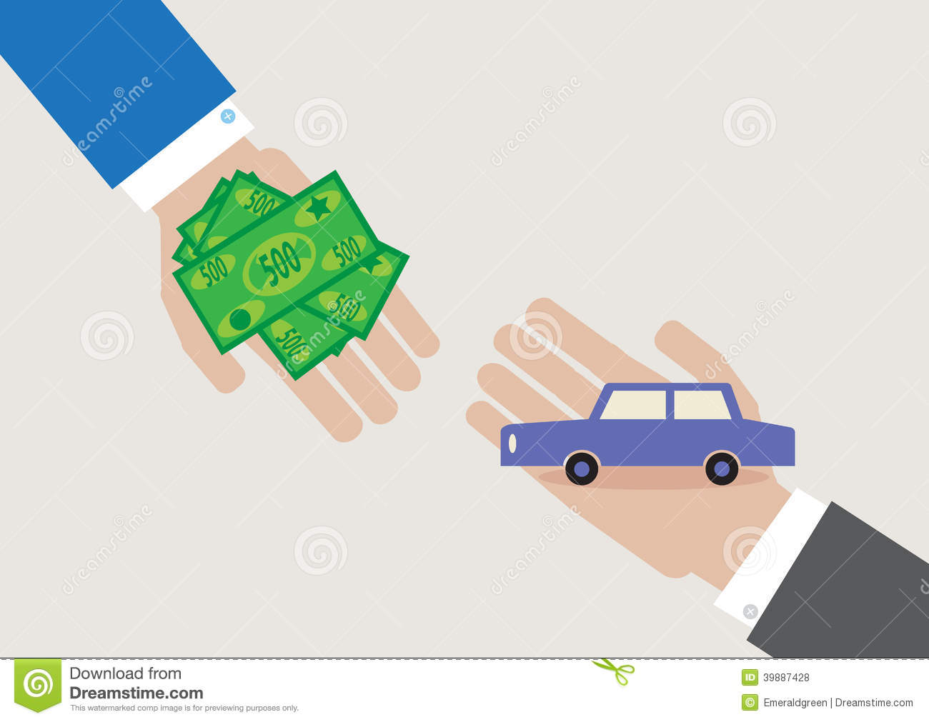 cartoon style, vector illustration of a car transaction.