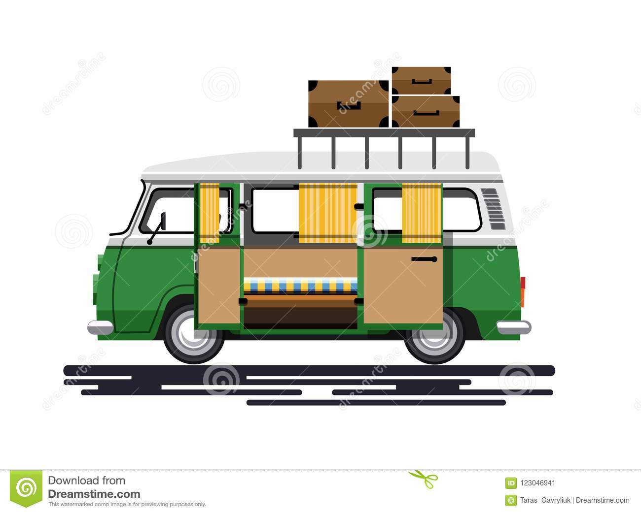 A Car For Traveling With Luggage Stock Vector - Illustration of