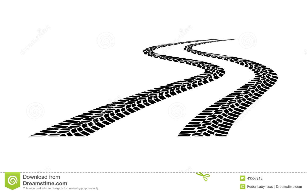 Car Tread Silhouette On A White Background Stock Vector