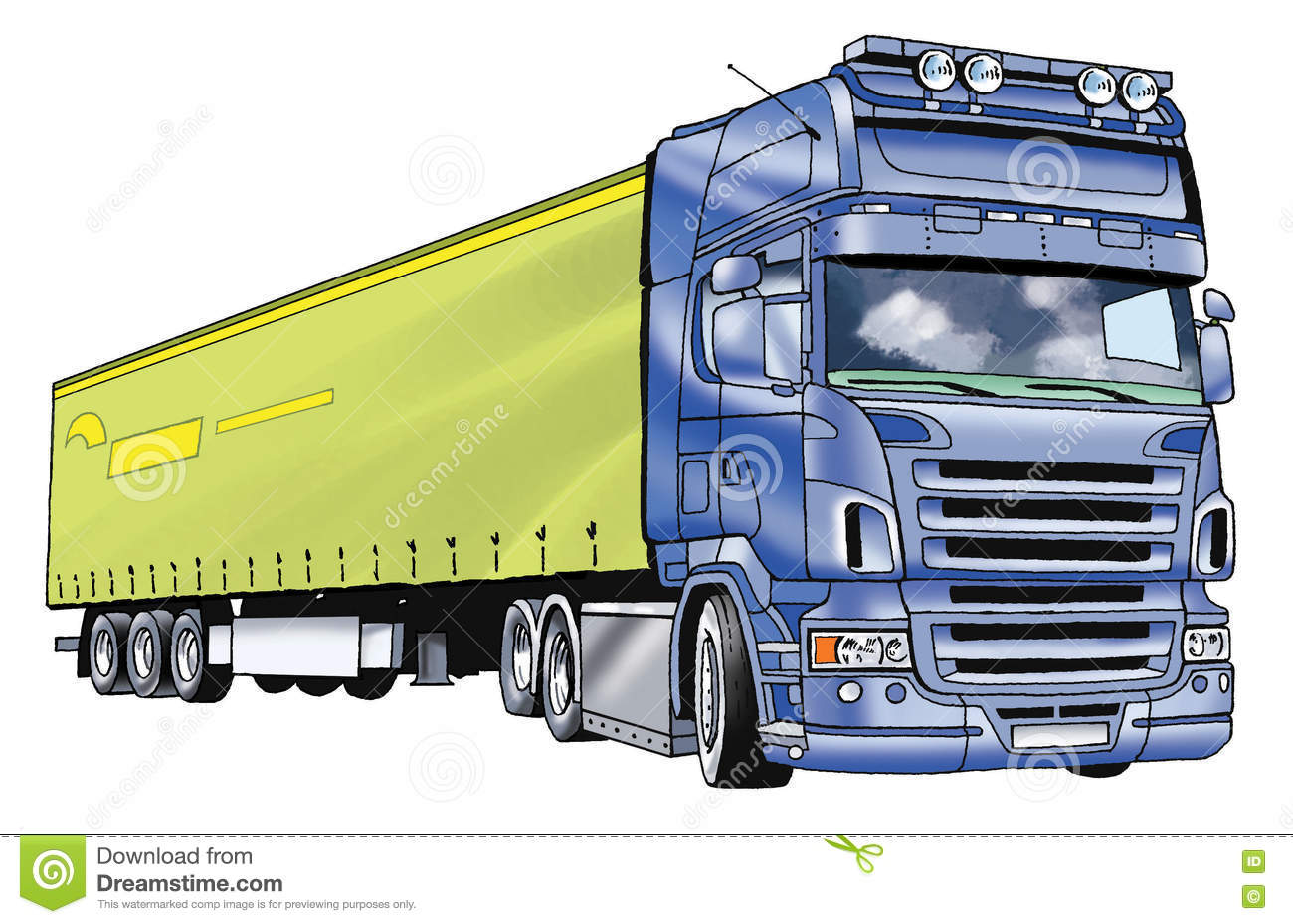 Car Truck Trailer Drawing Stock Illustration Illustration Of Fuel