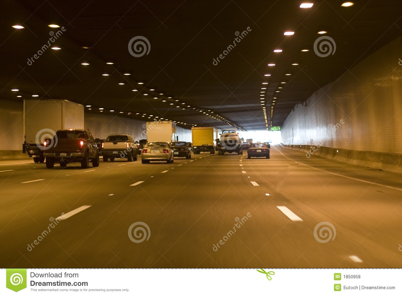 Car Tunnel Stock Photo Image Of Lane Sign Green Speed