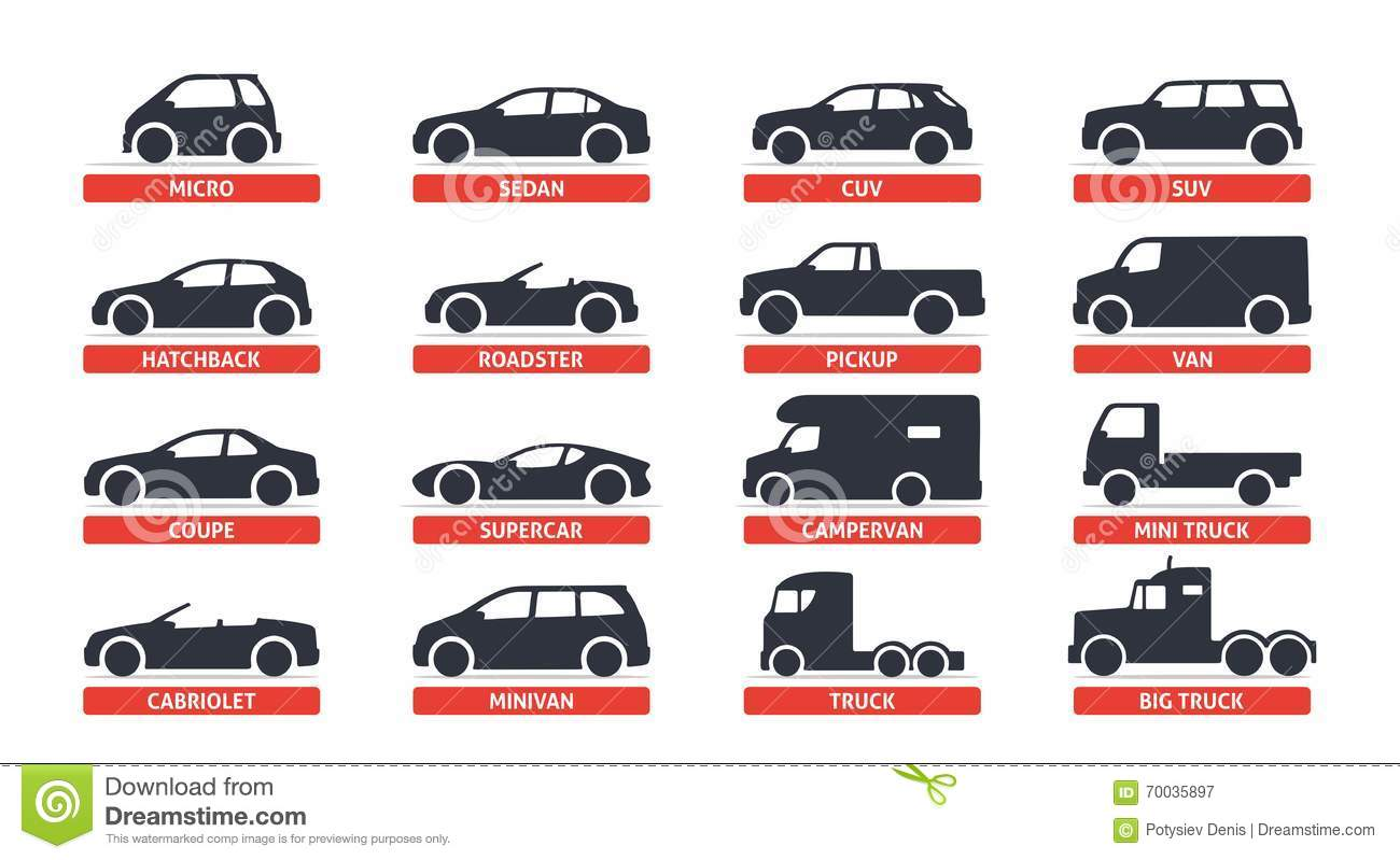 car type and model objects icons set automobile vector black illustration on white background. Black Bedroom Furniture Sets. Home Design Ideas