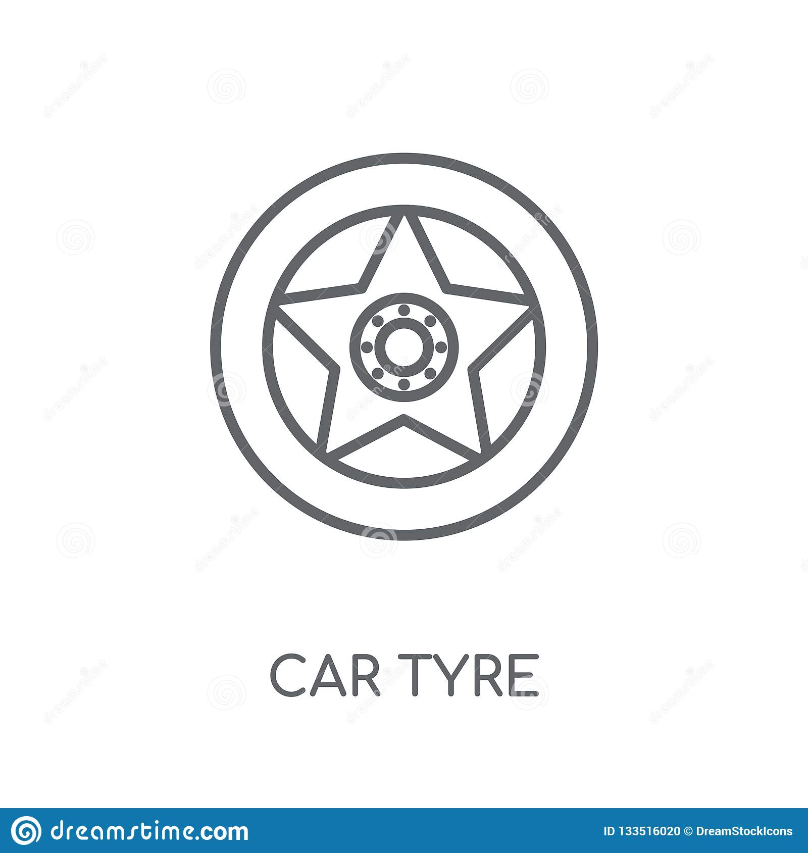 car tyre linear icon. Modern outline car tyre logo concept on wh