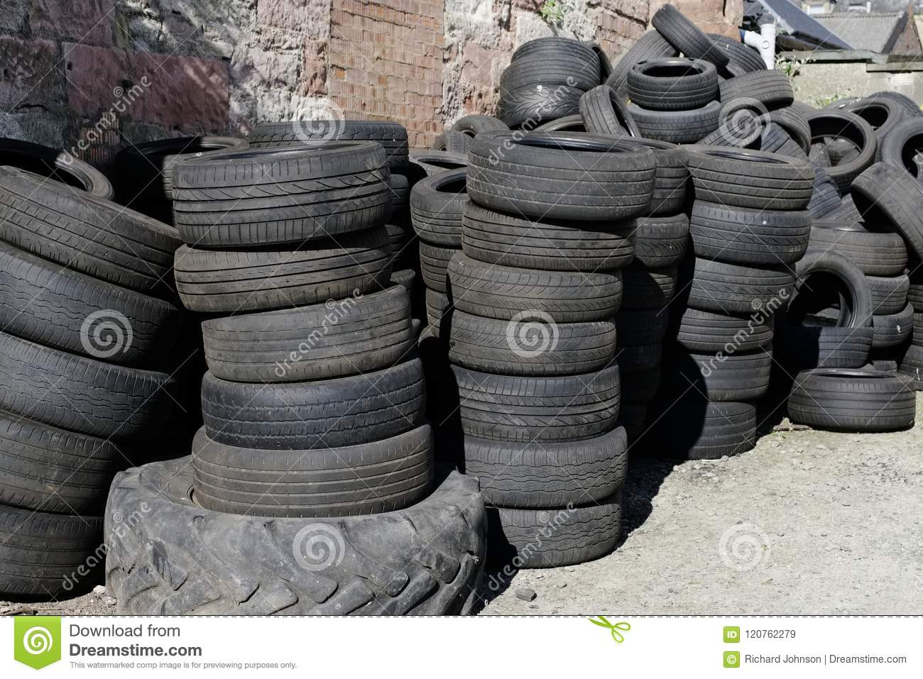 Car Tyres Stacked Recycling Compound Environment Ole Used Rubber