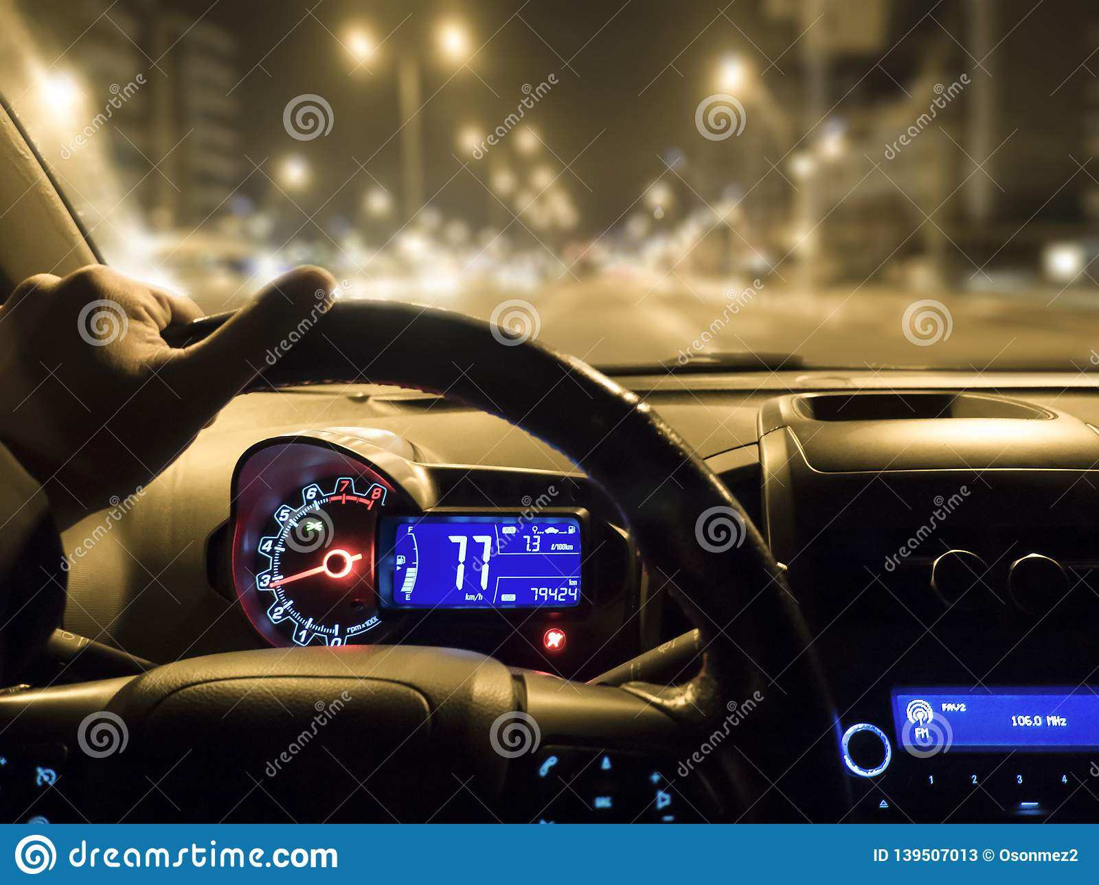 Car Use On Night Road Man Holding Steering Wheel In Car Stock Image Image Of Highway Male 139507013