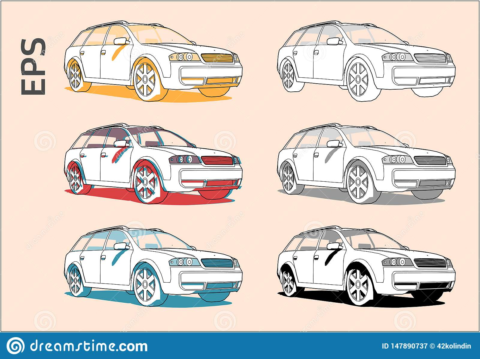 Car vector icons set for architectural drawing and illustration