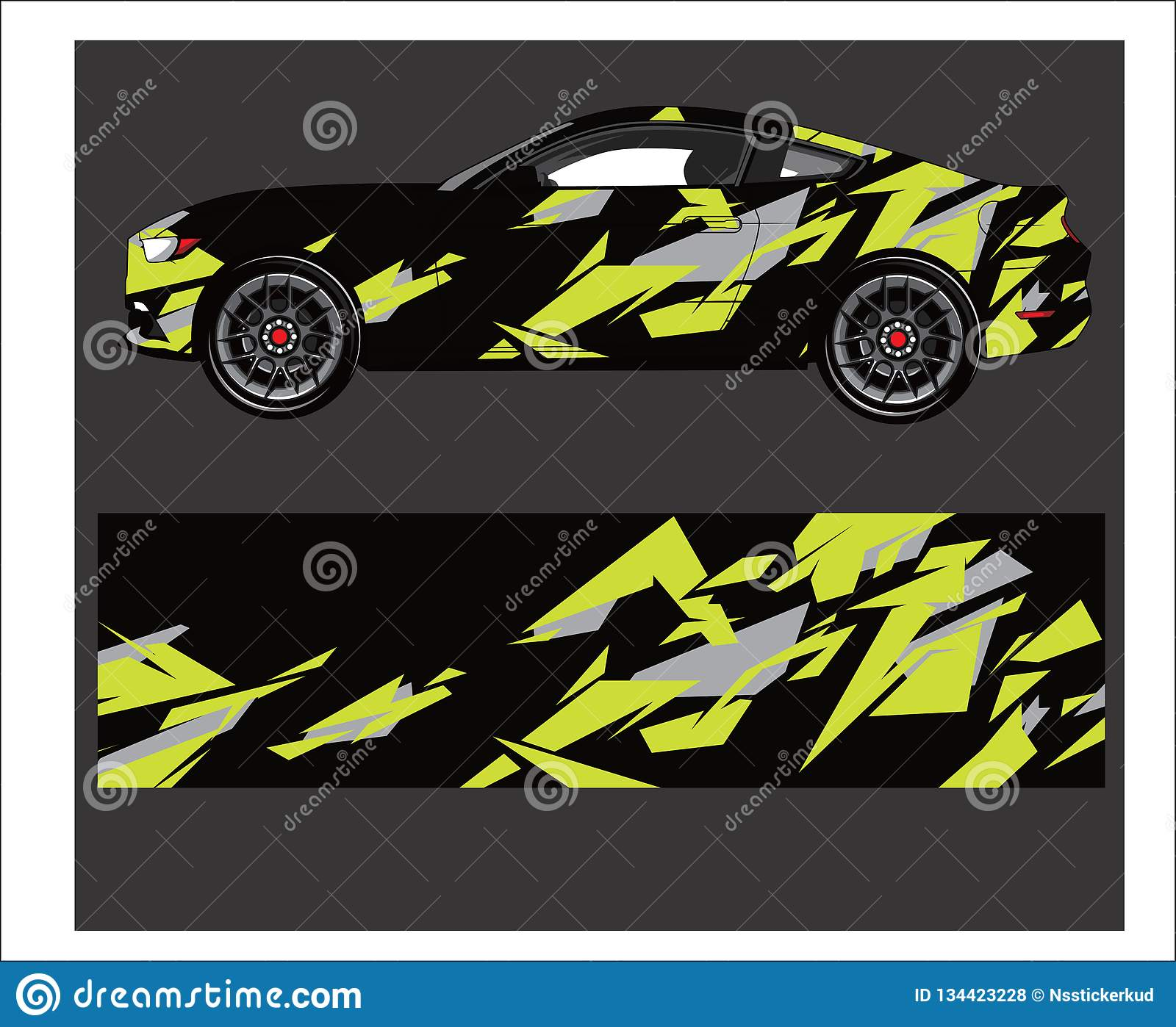 Car and vehicle abstract racing graphic kit background for wrap and vinyl sticker