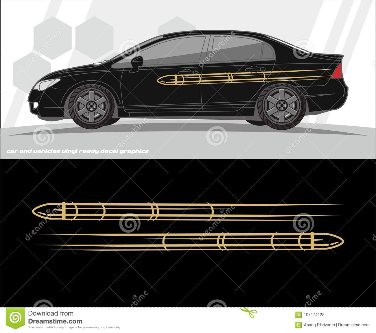 Car and vehicles decal graphics kit designs ready to print and cut