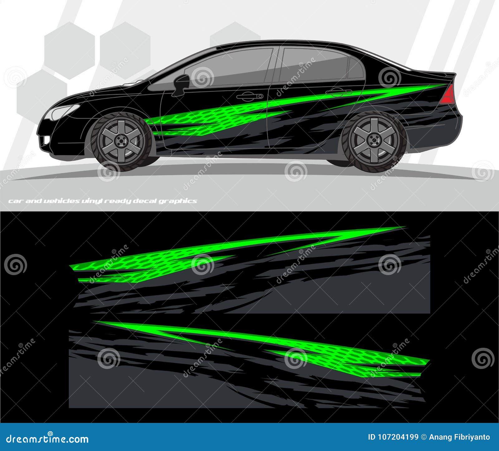 Professional modern car bike vehicle graphics vinyls wrap decals kit vector graphic kit