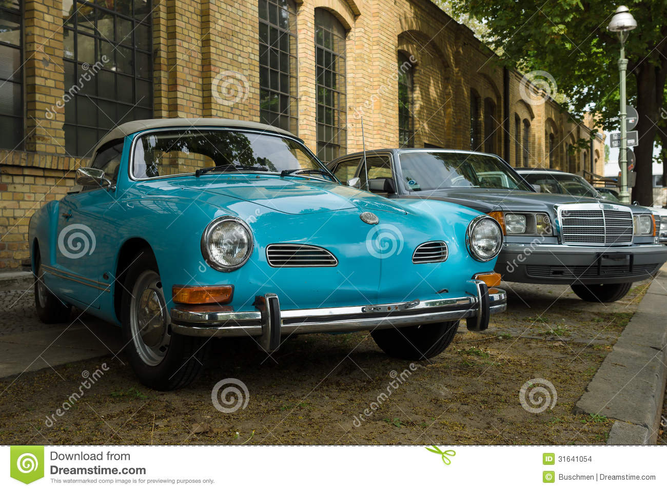 car volkswagen karmann ghia foreground and the mercedes. Black Bedroom Furniture Sets. Home Design Ideas