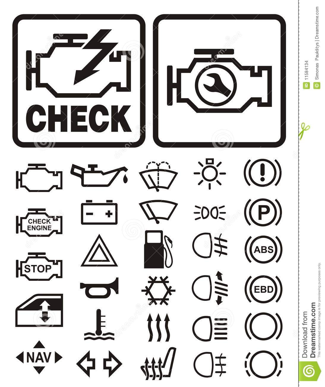 Car Warning Symbols Stock Images Image 11584134