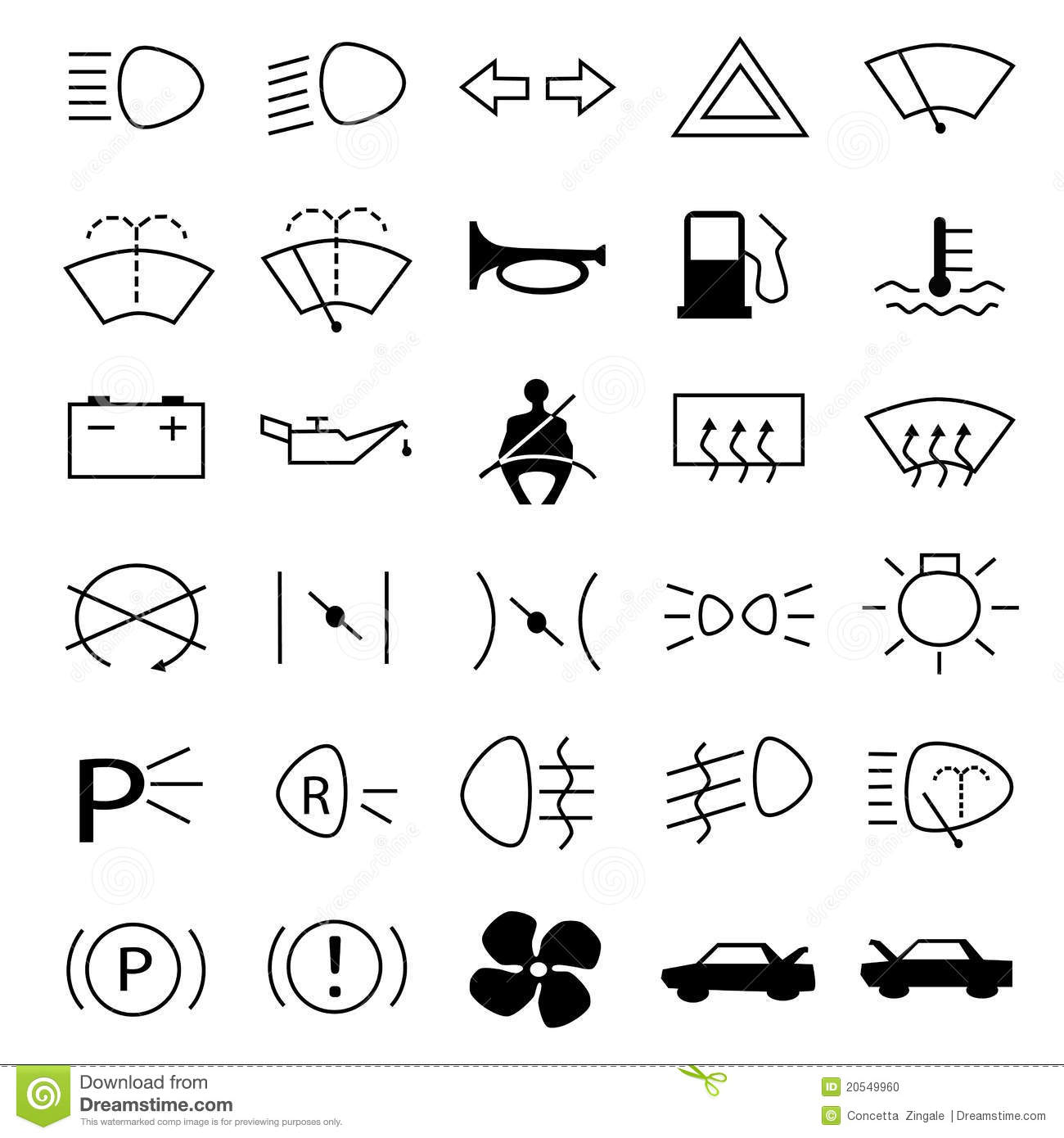 Car Warning Symbols Stock Photo - Image: 20549960