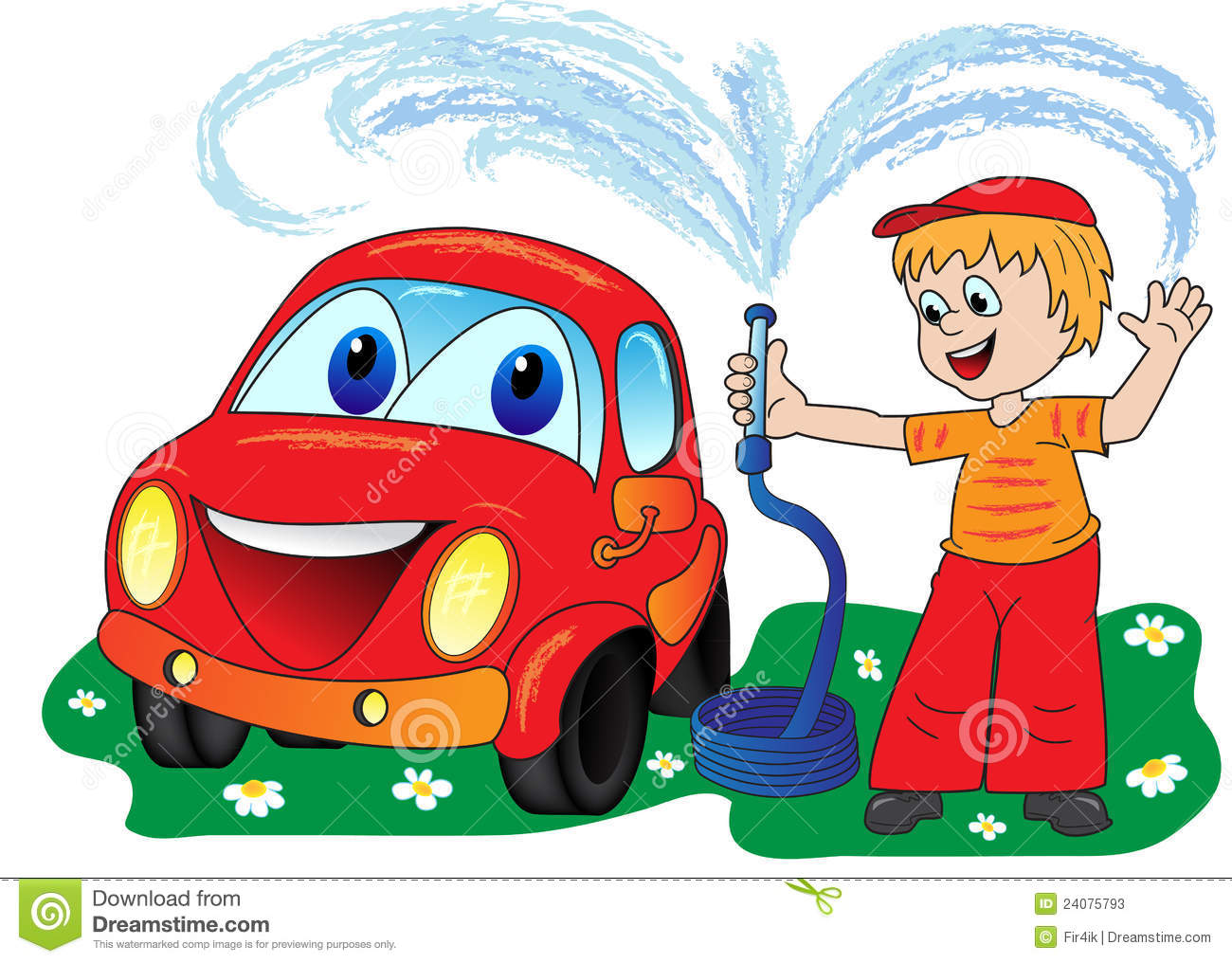 man in a bright dress washes smiling automobile from a hose.