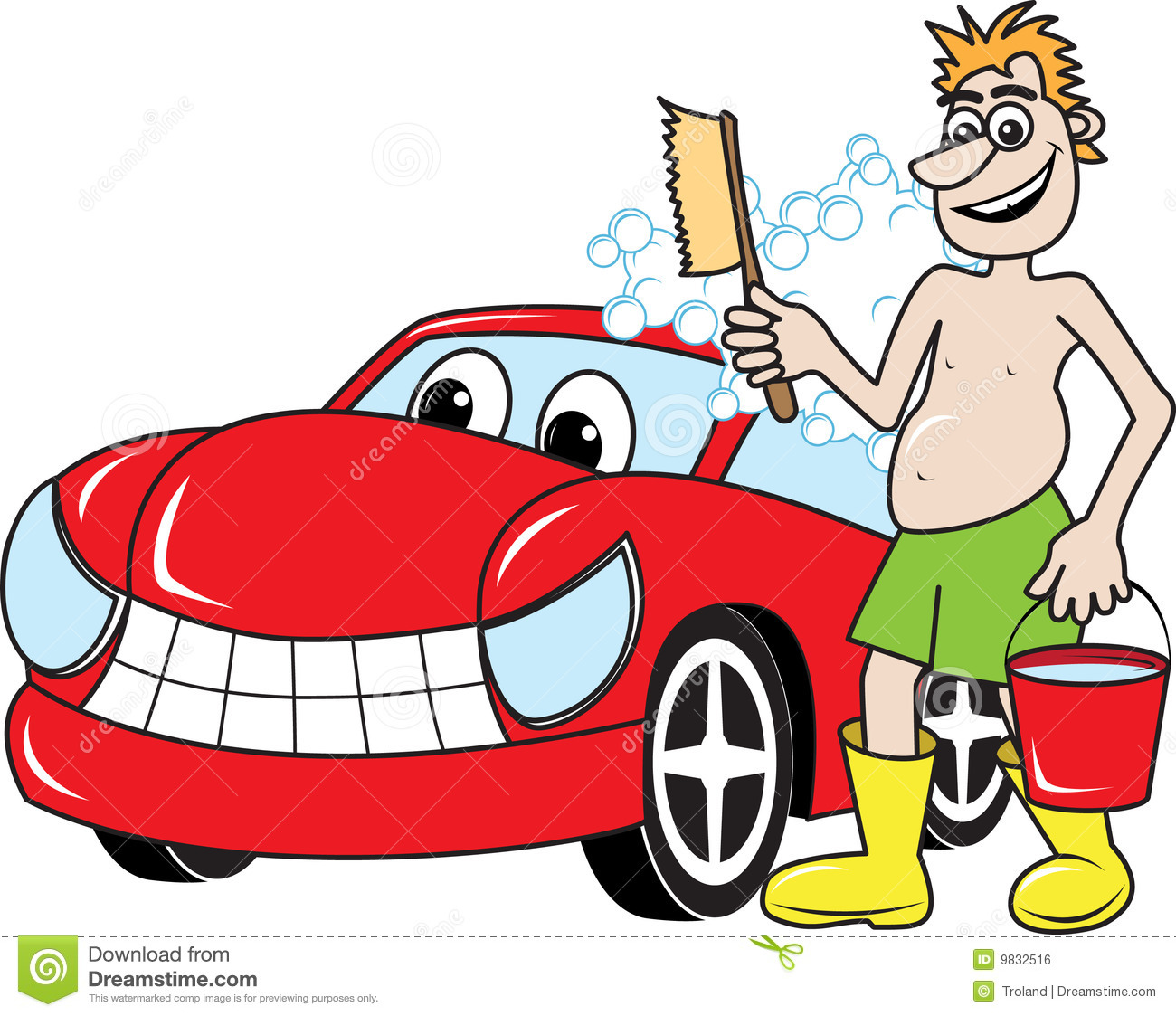 Vector illustration of a happy man washing a happy car.
