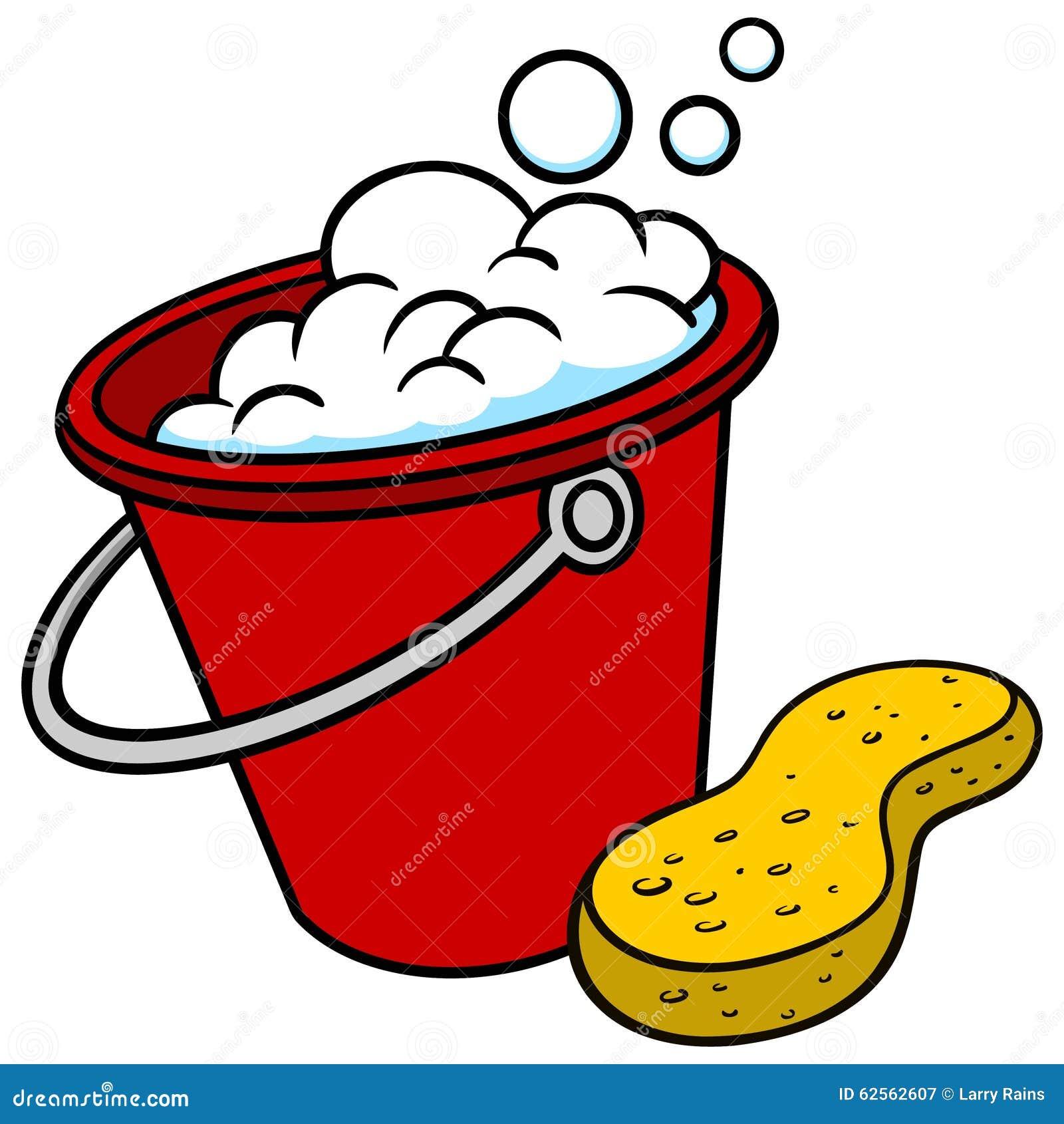Car Wash Bucket And Sponge Stock Vector Image 62562607