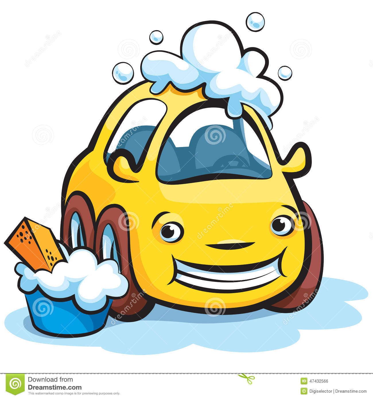 Car wash cartoon stock vector image of service shampoo for Clean car pictures