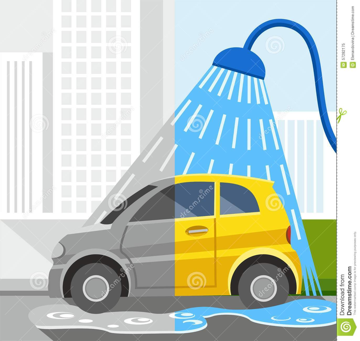 Car Clean Coloured Dirty Grey Half Illustrations Shower ...