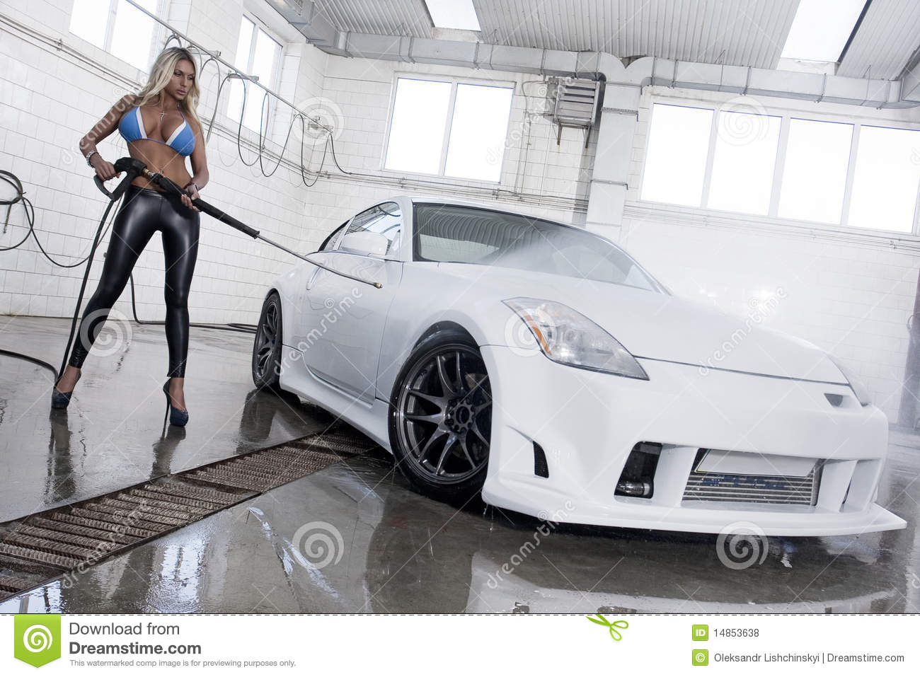 Car Wash - Fashion Model Royalty Free Stock Photos - Image: 14853638