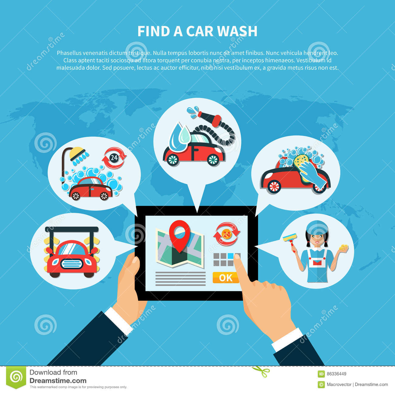 Car Wash Finder Concept Stock Vector Illustration Of Communication