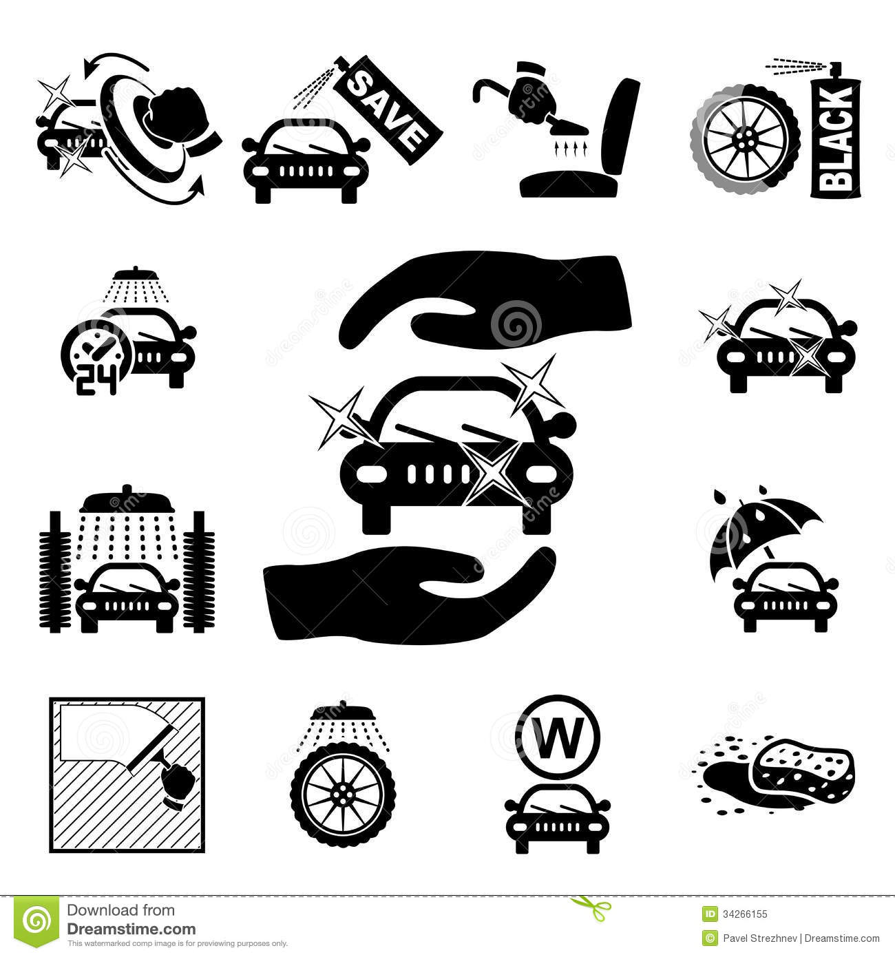 car wash icons set stock vector image of motor fast 34266155. Black Bedroom Furniture Sets. Home Design Ideas