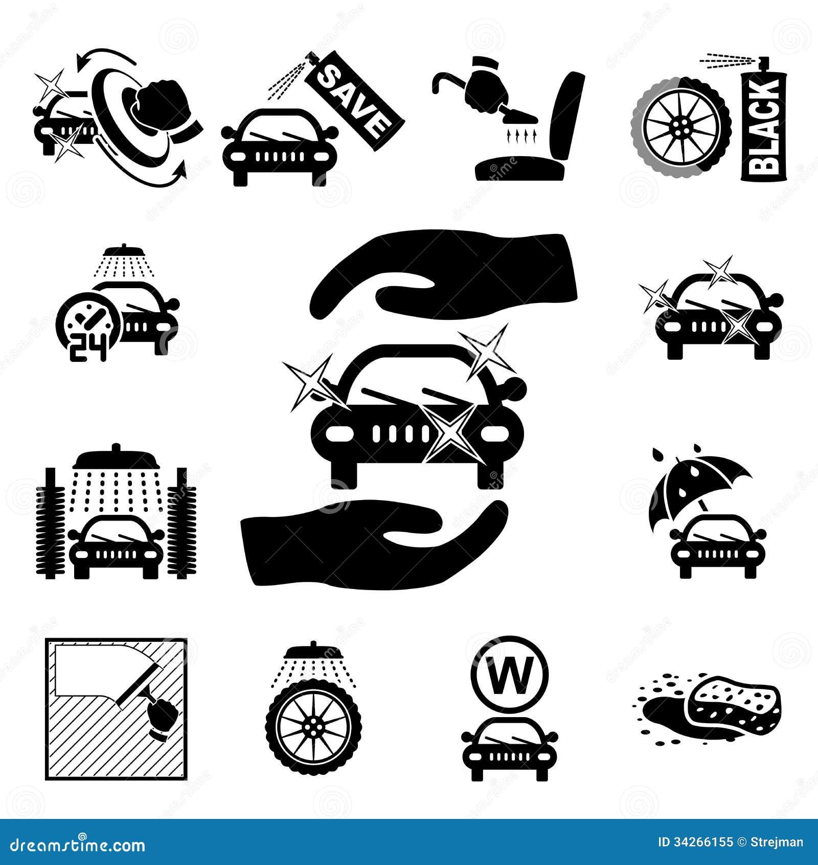 Car Wash Supplies Clip Art Car Wash Icons Set Royalty