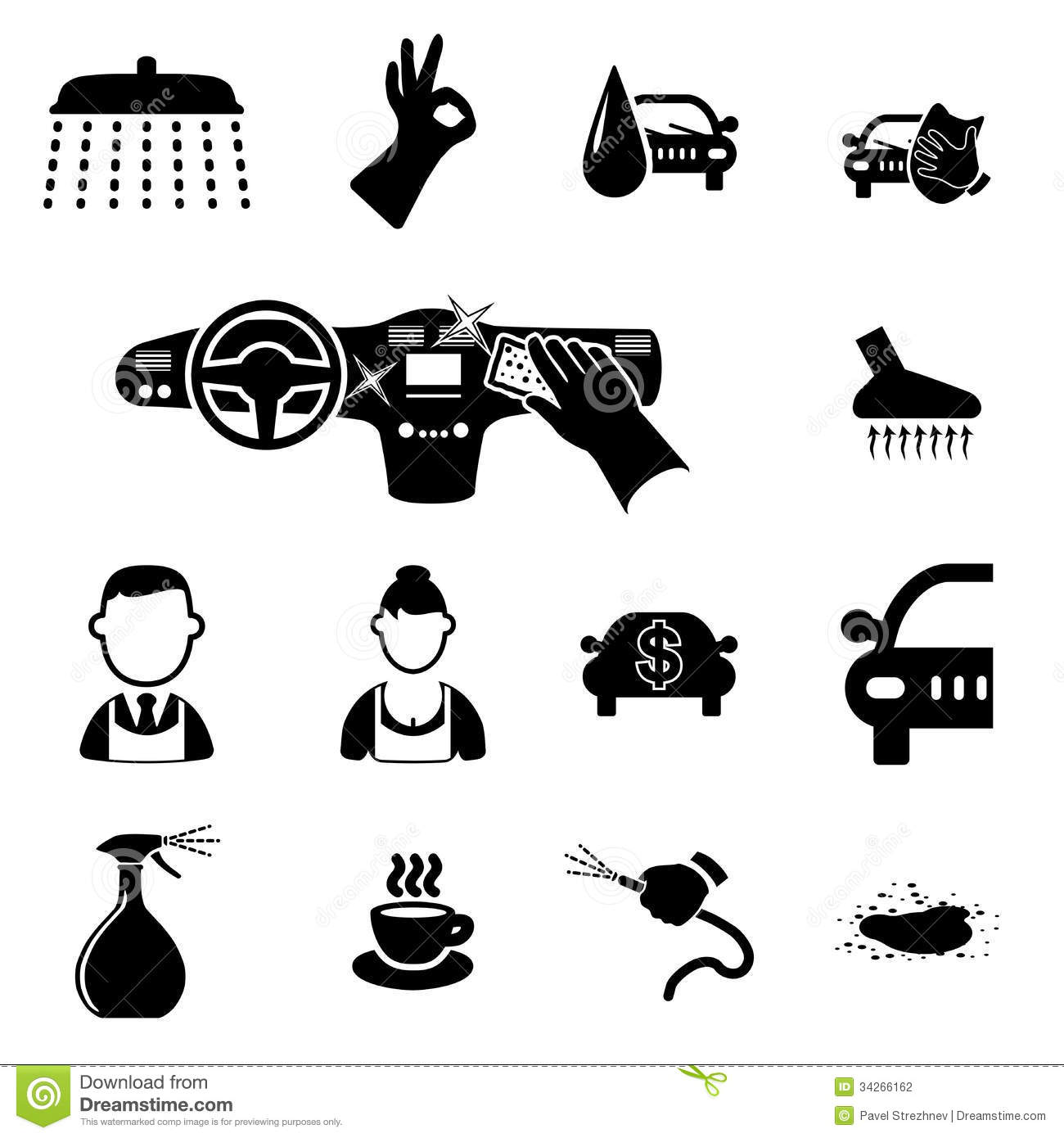 Car Wash Icons Set Stock Vector Image Of Service Fast