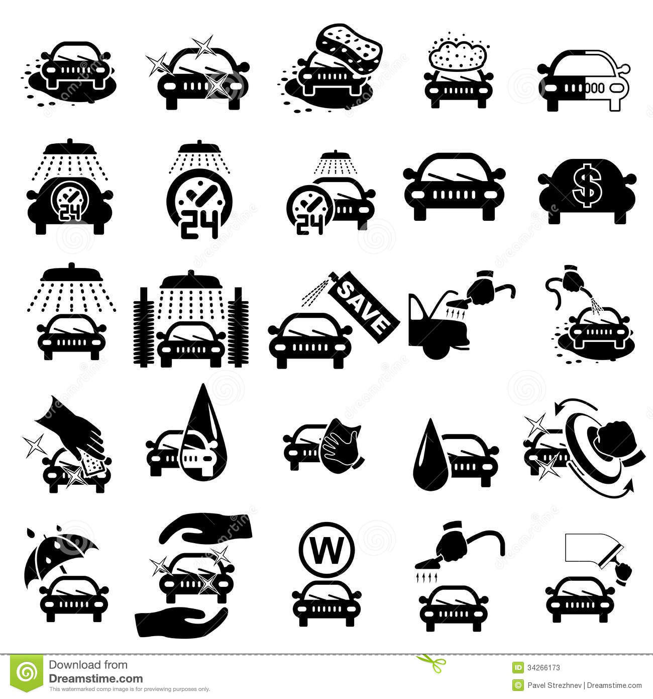 Car Wash Icons Set Stock Vector Illustration Of Isolated 34266173