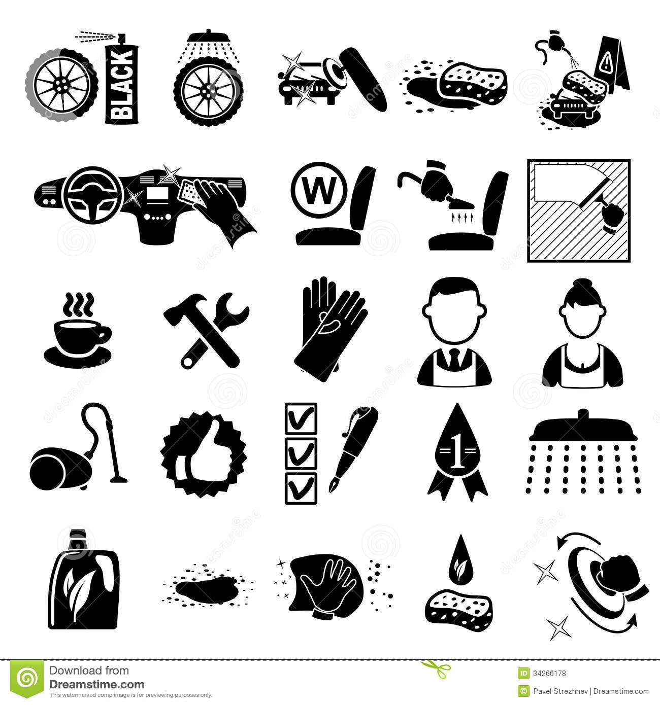 Car Wash Icons Set Stock Vector. Illustration Of Clean