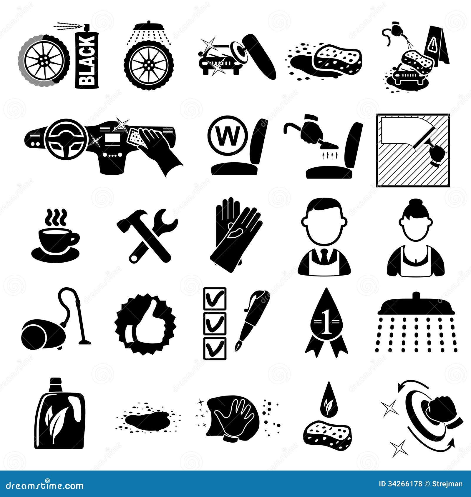 car wash icons set royalty free stock photos image 34266178 Car Vector Art Car Icon Vector