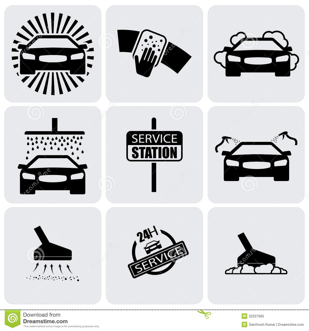 Car Wash Icons(signs) Set Of Cleaning Car- Vector Graphic ...