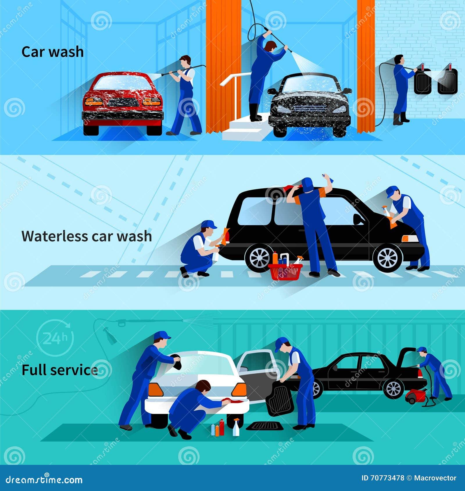 Car Wash Services : Car wash service flat banners cartoon vector