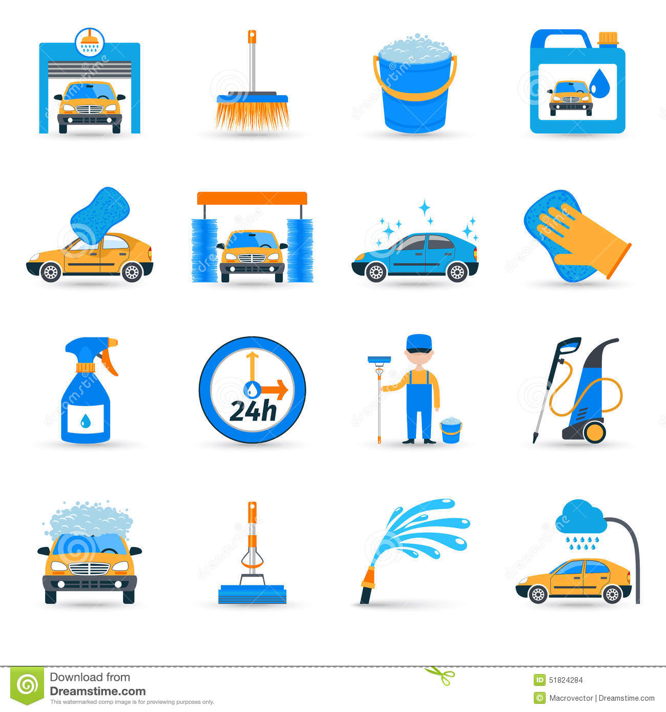 car wash service icons set stock vector image 51824284. Black Bedroom Furniture Sets. Home Design Ideas