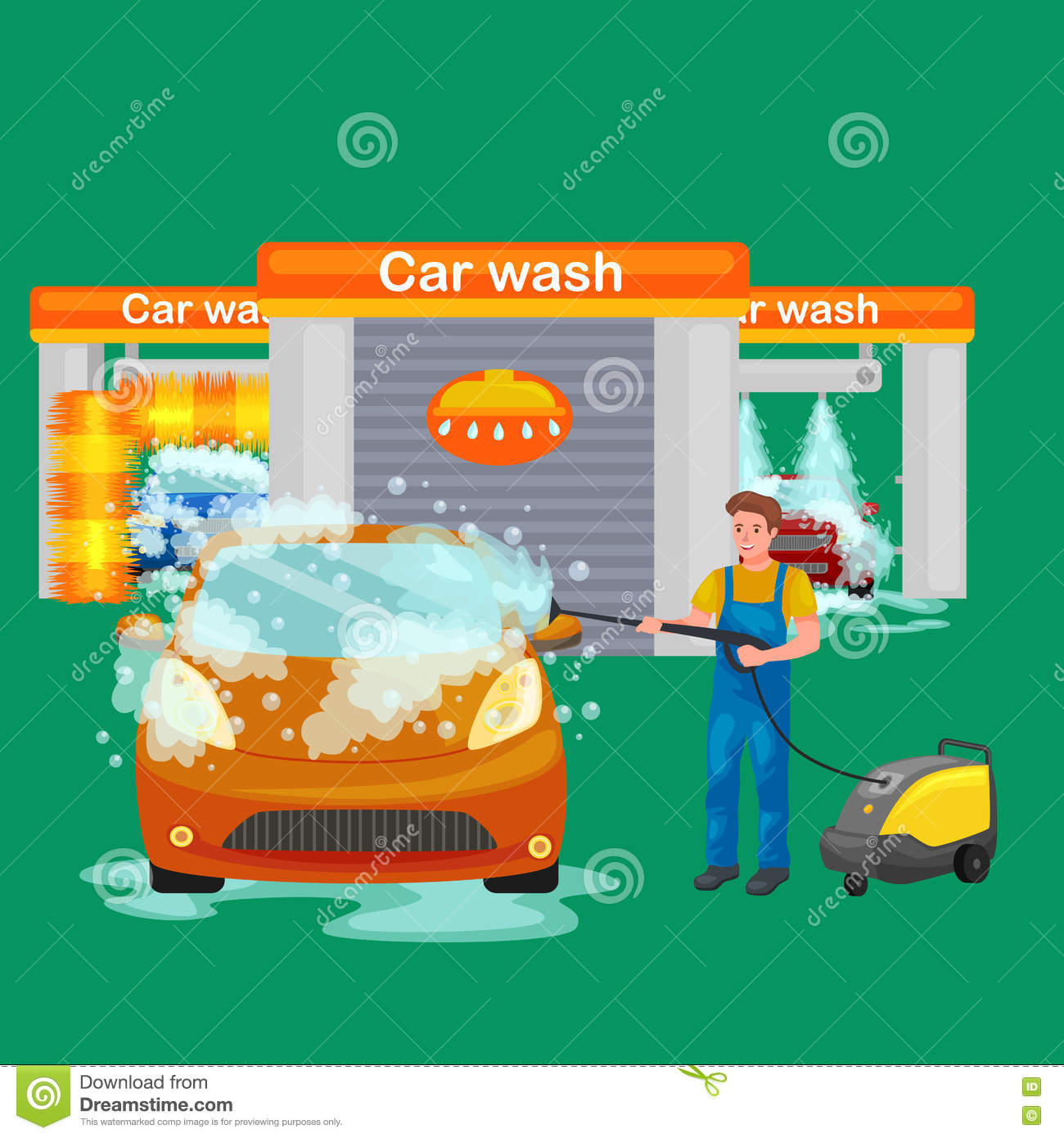 Transport Cleaning Services : Car service auto wash and transport cleaning cartoon